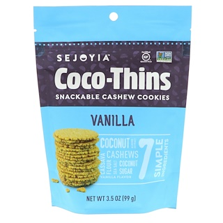 Sejoyia Foods, Coco-Thins, Snackable Cashew Cookies, Vanilla, 3.5 oz (99 g)