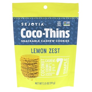Sejoyia, Coco-Thins, Snackable Cashew Cookies, Lemon Zest, 3.5 oz (99 g)