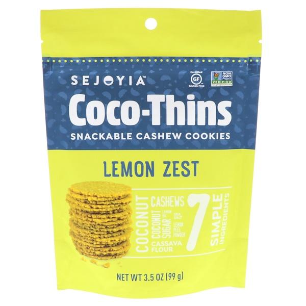 Sejoyia Foods, Coco-Thins,腰果餅乾,可作小吃,檸檬皮,3、5盎司(99克)