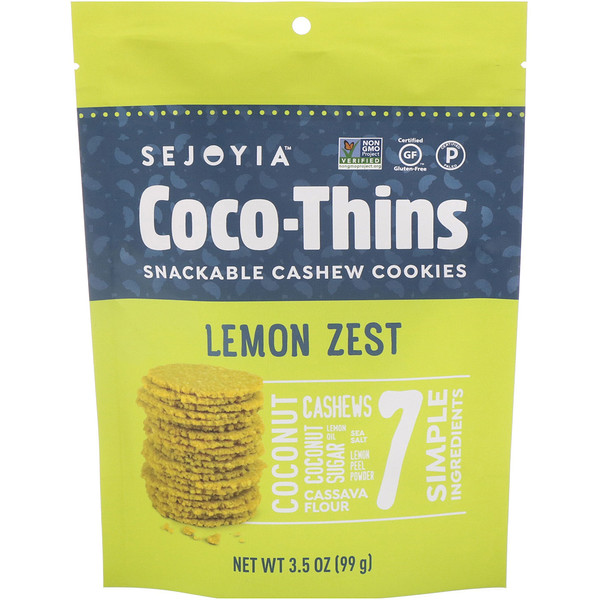 Sejoyia, Coco-Thins, Snackable Cashew Cookies, Lemon Zest, 3.5 oz (99 g) (Discontinued Item)