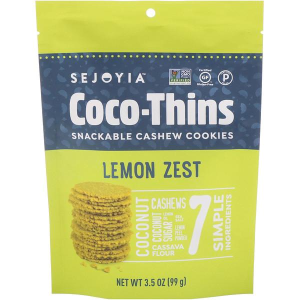 Sejoyia, ココ-シンズ、スナックカシュークッキー、レモンゼスト、3.5オンス (99 g) (Discontinued Item)