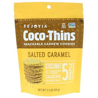 Sejoyia Foods, Coco-Thins, Snackable Cashew Cookies, Salted Caramel, 3.5 oz (99 g)