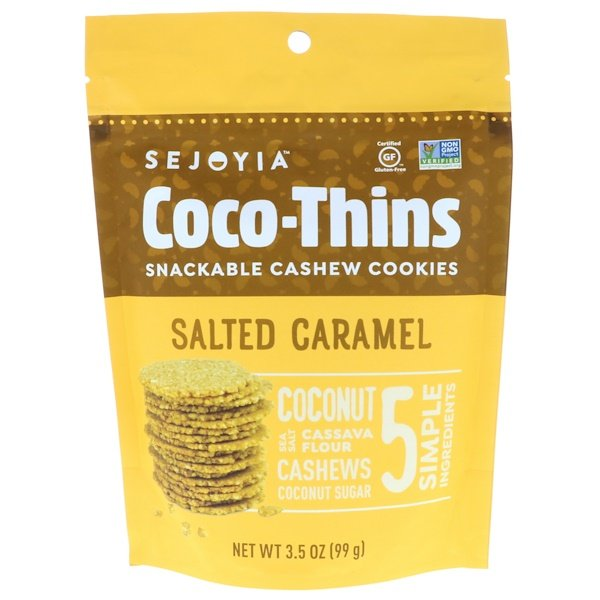 Sejoyia, Coco-Thins, Snackable Cashew Cookies, Salted Caramel, 3.5 oz (99 g) (Discontinued Item)