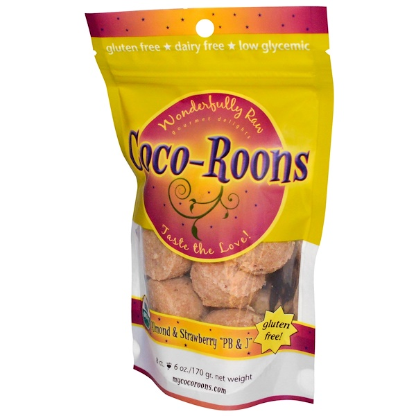 "Sejoyia, Coco-Roons, Almond & Strawberry ""PB & J"", 8 Count, 6 oz (170 g) (Discontinued Item)"