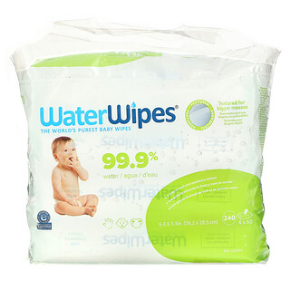 WaterWipes, Textured Baby Wipes, 4 Packs, 60 Wipes Each
