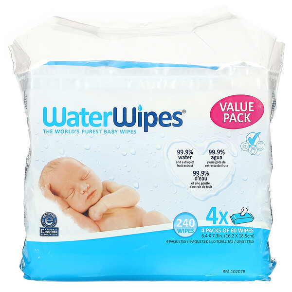 WaterWipes, Baby Wipes, Fruit Extract, 240 Wipes