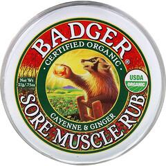 Badger Company, 肌肉酸痛舒緩膏, 辣椒&生薑, 0.75盎司(21克)