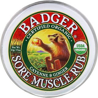 Badger Company, SoreMuscleRub, мазь от боли в мышцах с кайенским перцем и имбирем, 21г (0,75унции)