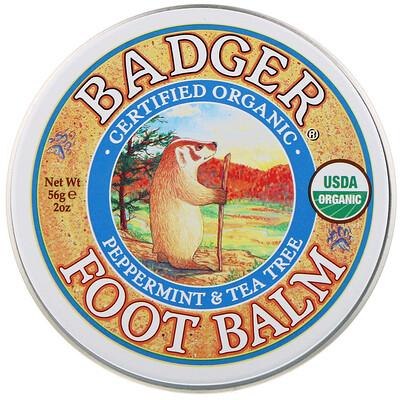 Купить Badger Company Бальзам для ног, с перечной мятой и чайным деревом, 2 унции (56 г)