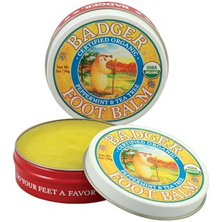 Badger Company, Foot Balm, Peppermint & Tea Tree, 2 oz (56 g)