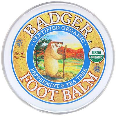 Купить Badger Company Бальзам для ног с экстрактами перечной мяты и чайного дерева, .75 унций (21 г)