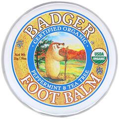 Badger Company, 有機,足部護理膏,薄荷和茶樹,0.75 盎司(21 克)