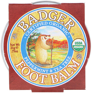 Badger Company, Organic, Foot Balm, Peppermint & Tea Tree, .75 oz (21 g)