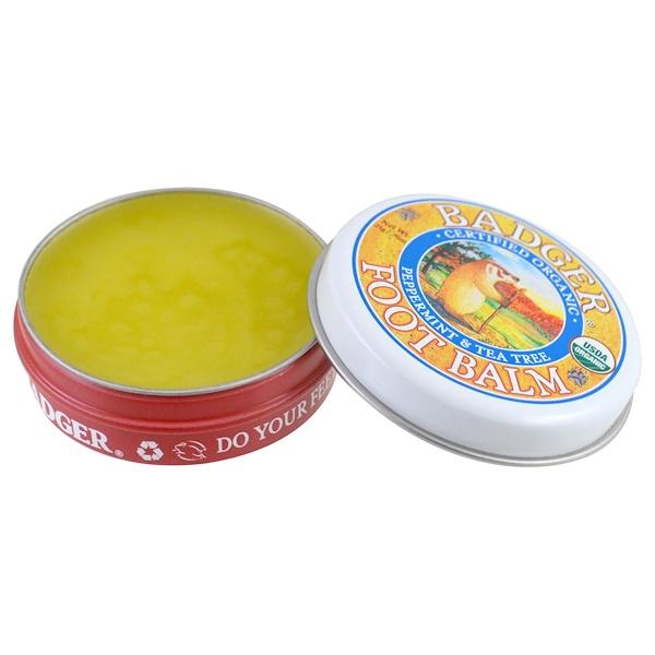 Badger Company, 足部護理膏,薄荷和茶樹,0、75盎司(21克)