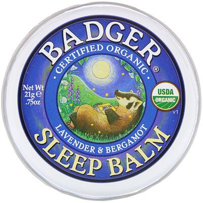 Купить Badger Company Органический бальзам для сна, лаванда и бергамот, 21г (0, 75унции)