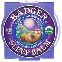 Badger Company, Organic, Sleep Balm, Lavender & Bergamot, .75 oz (21 g)