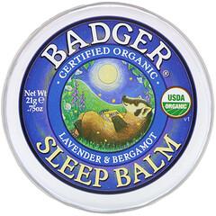 Badger Company, 有機,睡眠支持膏,薰衣花草和佛手柑味,0.75 盎司(21 克)