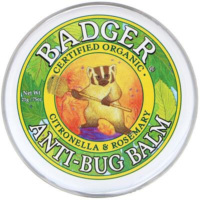 Купить Badger Company Бальзам для защиты от насекомых с цитронеллой и розмарином, 21 г (0, 75 унции)