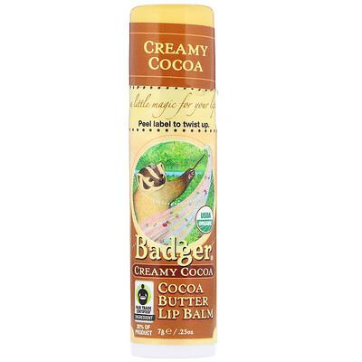 Купить Badger Company Бальзам для губ с какао, сливочное какао, .25 унции (7 г)