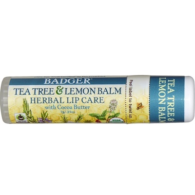 Badger Company Tea Tree & Lemon Balm Herbal Lip Care with Cocoa Butter, .25 oz (7 g)