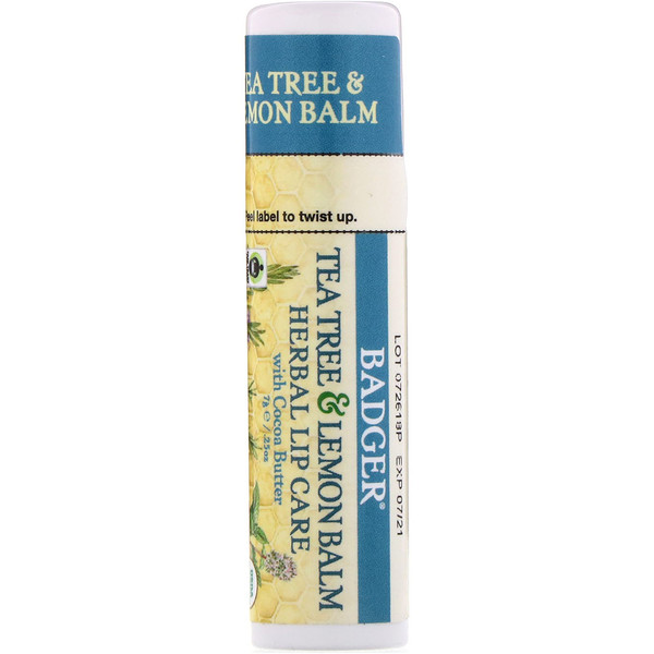 Badger Company, Tea Tree & Lemon Balm Herbal Lip Care with Cocoa Butter, .25 oz (7 g) (Discontinued Item)