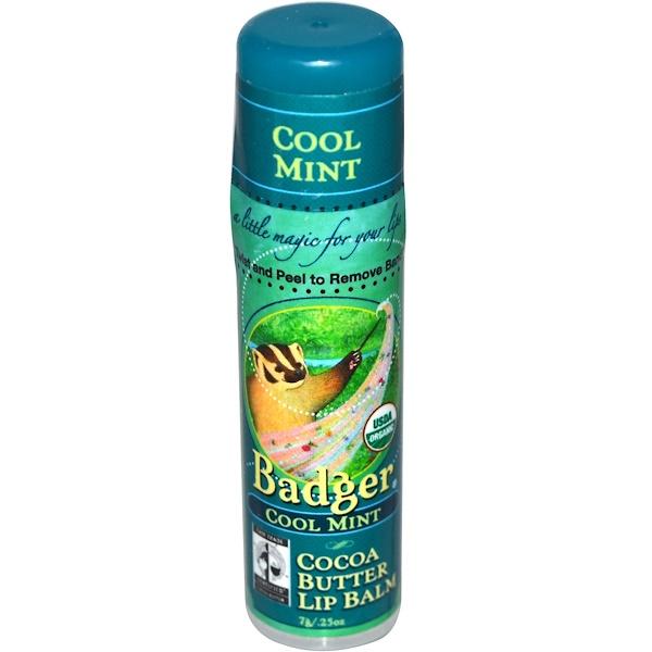 Badger Company, Бальзам для губ с маслом какао, прохладная мята, 0,25 унций (7 г)