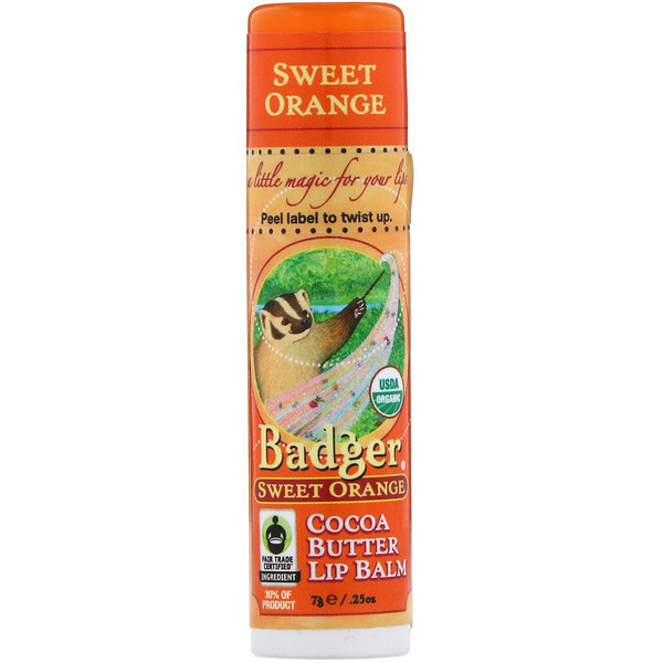 Badger Company, Cocoa Butter Lip Balm, Sweet Orange, .25 oz (7 g) (Discontinued Item)