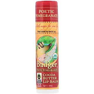 Badger Company, Organic, Cocoa Butter Lip Balm, Poetic Pomegranate, .25 oz (7 g)