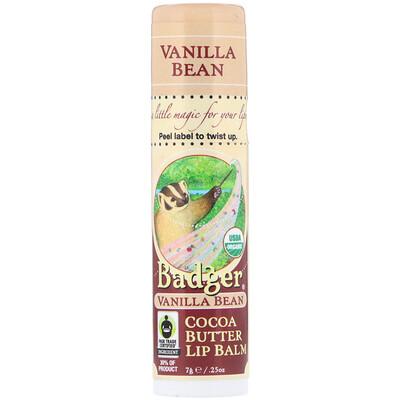Badger Company Organic, Cocoa Butter Lip Balm, Vanilla Bean, .25 oz (7 g)  - купить со скидкой