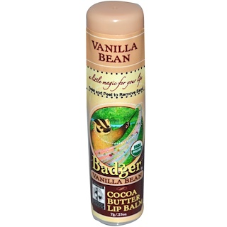 Badger Company, Cocoa Butter Lip Balm, Vanilla Bean, .25 oz (7 g)