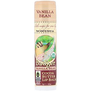 Бадгер компания, Organic, Cocoa Butter Lip Balm, Vanilla Bean, .25 oz (7 g) отзывы покупателей