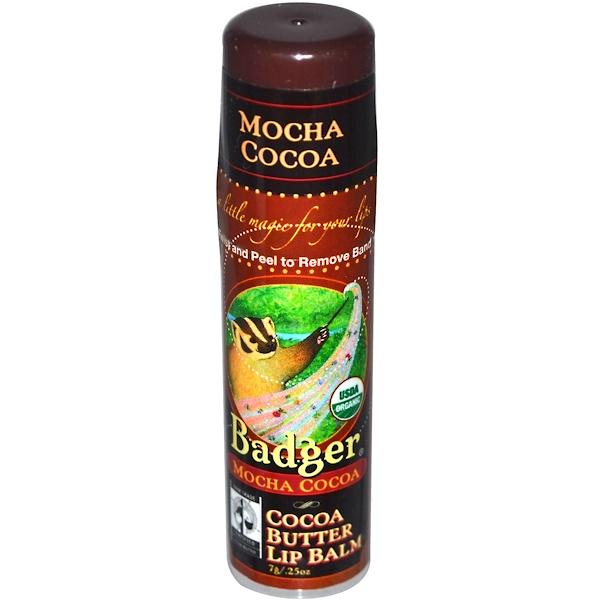 Badger Company, Cocoa Butter Lip Balm, Mocha Cocoa, .25 oz (7 g)