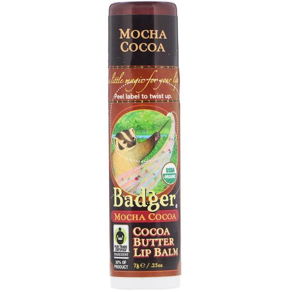 Badger Company, Organic, Cocoa Butter Lip Balm, Mocha Cocoa, .25 oz (7 g) (Discontinued Item)