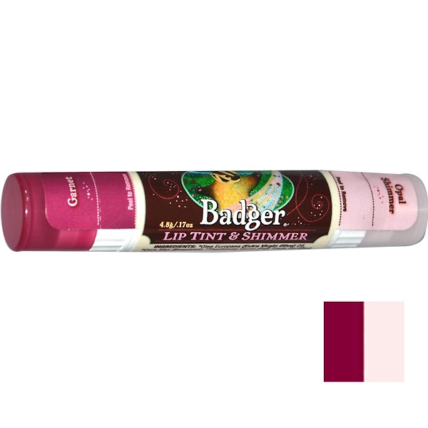 Badger Company, Lip Tint & Shimmer, Garnet/Opal Shimmer, .17 oz (4.8 g) (Discontinued Item)