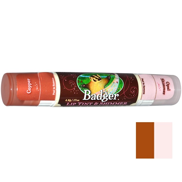 Badger Company, Lip Tint & Shimmer, Copper/Opal Shimmer, .17 oz (4.8 g) (Discontinued Item)