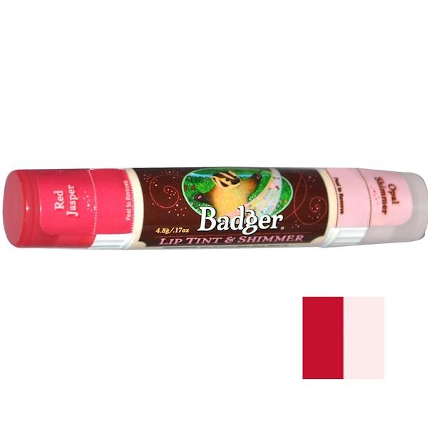 Badger Company, リップ カラー & きらめき、碧玉の赤/オパールの輝き、0.17オンス(4.8 g) (Discontinued Item)