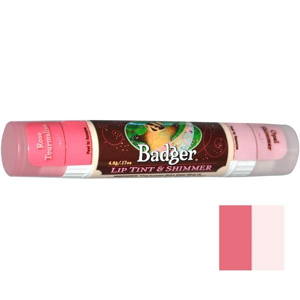 Badger Company, Lip Tint & Shimmer, Rose Tourmaline / Opal Shimmer, .17 oz (4.8 g) (Discontinued Item)