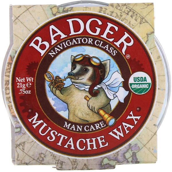 Badger Company, Organic Mustache Wax, Man Care, .75 oz (21 g) (Discontinued Item)