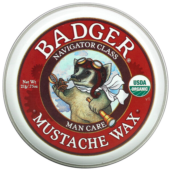 Badger Company, Organic Mustache Wax, .75 oz (21 g) (Discontinued Item)