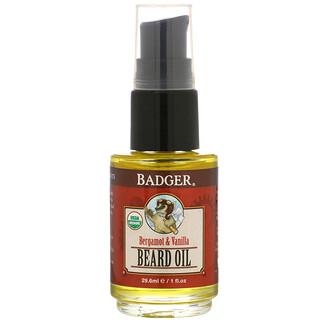 Badger Company, 高级,胡须护理油,佛手柑和香草,1 液量盎司(29.6 毫升)