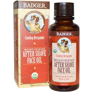 Badger Company, Moisturizing After Shave Face Oil, Cooling Bergamot, 4 fl oz (118 ml)
