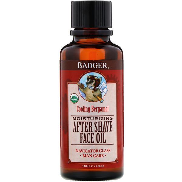 Badger Company, Moisturizing After Shave Face Oil, Cooling Bergamot, 4 fl oz (118 ml) (Discontinued Item)