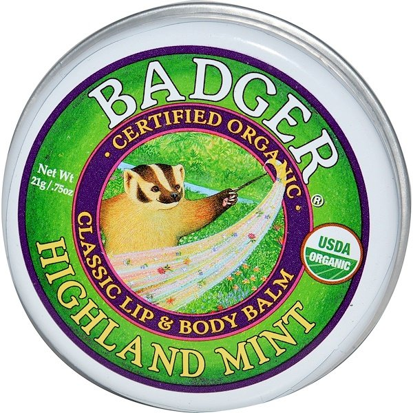 Badger Company, Classic Lip & Body Balm, Highland Mint, .75 oz (21 g) (Discontinued Item)