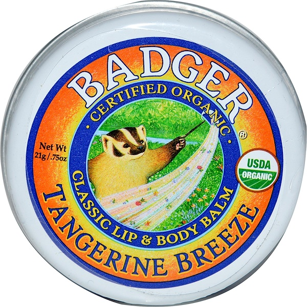 Badger Company, クラッシックなリップ & ボディバーム, タンジェリンブリーズ, .75 oz (21 g) (Discontinued Item)