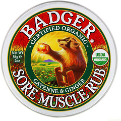 Badger Company, 有機,肌肉酸痛舒緩膏,辣椒和薑,2 盎司(56 克)
