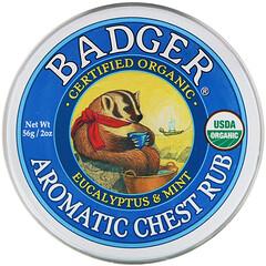 Badger Company, Aromatica 胸部按摩霜,桉樹和薄荷味,2 盎司(56 克)