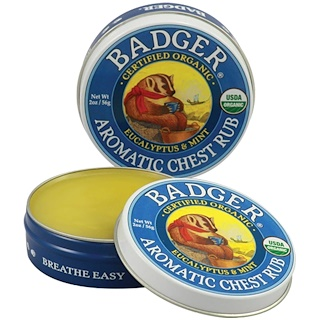 Badger Company, Aromatic Chest Rub, Eucalyptus & Mint, 2 oz (56 g)