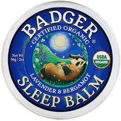 Badger Company, 有機,睡眠支持膏,薰衣花草和佛手柑味,2 盎司(56 克)