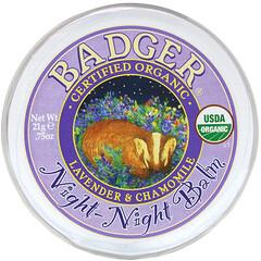 Badger Company, 有機,睡眠支持膏,薰衣花草和洋甘菊香,0.75 盎司(21 克)