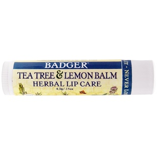 Badger Company, Tea Tree & Lemon Balm Herbal Lip Care, .15 oz (4.2 g)
